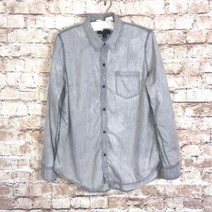 Lucky Brand Gray Distressed Chambray Button Down